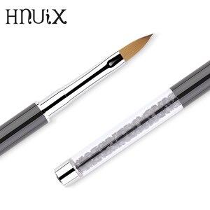 Image 5 - Art nails pędzelek do zdobień rhinestone diamentowy metalowy akrylowy uchwyt carving powder Gel liquid Salon Liner nails brushes with cap