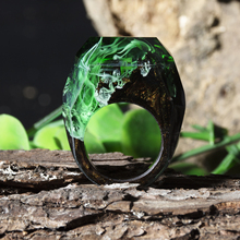 Green Epoxy Resin Magic Wooden Rings For Women Natural Forest Landscape Wood Rectangle Ring Gift Luminous Under UV or Flashlight