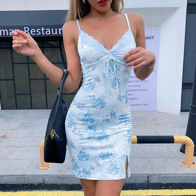 IAMSURE Streetwear Fashion Lace Edge Sexy V-Neck Split Bodycon Dress For Women Flower Print Aesthetic y2k Female Mini Dresses 2