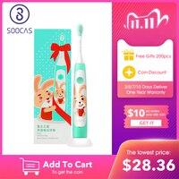 Soocas c1 crianças escova de dentes elétrica crianças sonic escova de dentes criança miúdo automático carregamento sem fio ipx7