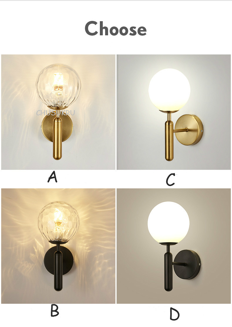 Hd803f9cc348f48578226c3285a90c14c4 - Decorative Led Wall Lights Fixtures Nordic Glass Ball Wandlamp Up Down Bathroom Mirror light Gold Black Modern Round Wall Lamp