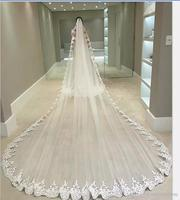 5 Meters Wedding Veils With Lace Applique Edge Long Cathedral Length Veils One Layer Tulle Custom Made Bridal Veil With Comb