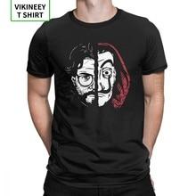 Camiseta De algodón con cuello redondo De La Casa De Papel para hombre, ropa De La Casa De Papel De talla grande