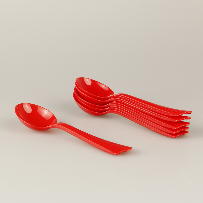 Red Festive Wedding Plastic Soup Spoon Tableware High Quality Disposable Plastic Spoon Wedding Red Spoon Manufacturers Wholesale