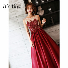 It's Yiiya Evening Dress 2019 Sleeveless O-Neck Lace Elegant Long Formal Dresses Appliques Party Plus Size A-Line Dresses E1290 long pageant dresses for girls glitz blue a line o neck lace up patchwork sleeveless formal mother daughter dresses for party