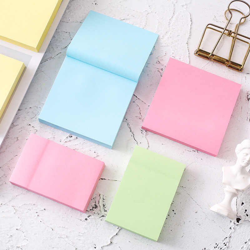 kawaii stationery 100 solid color post-it notes two sizes large square self-adhesive convenience stickers student stationery