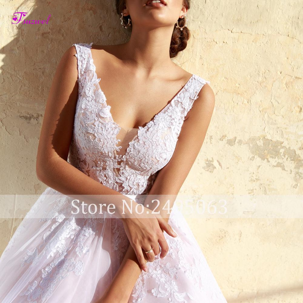 Image 5 - Fsuzwel New Arrival Sexy V Neck Backless A Line Wedding Dresses 2019 Gorgeous Appliques Sweep Train Bridal Gown Vestido de Noiva-in Wedding Dresses from Weddings & Events