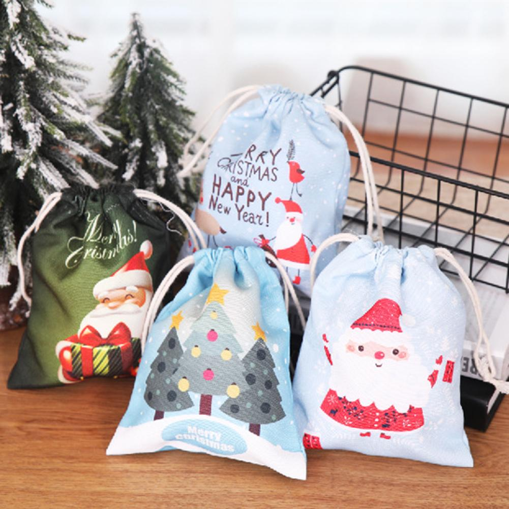 16x20cm Christmas Candy Bags Canvas Gift Bags Children's Best Gift For New Year Christmas Party Decoration Small Luggage Bag New