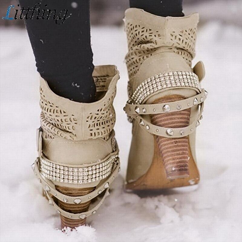 Litthing/зимние ботинки; женские полусапожки на высоком каблуке с заклепками и кристаллами; повседневная женская обувь из искусственной кожи с пряжкой; Botines Mujer; 2019-in Полусапожки from Обувь