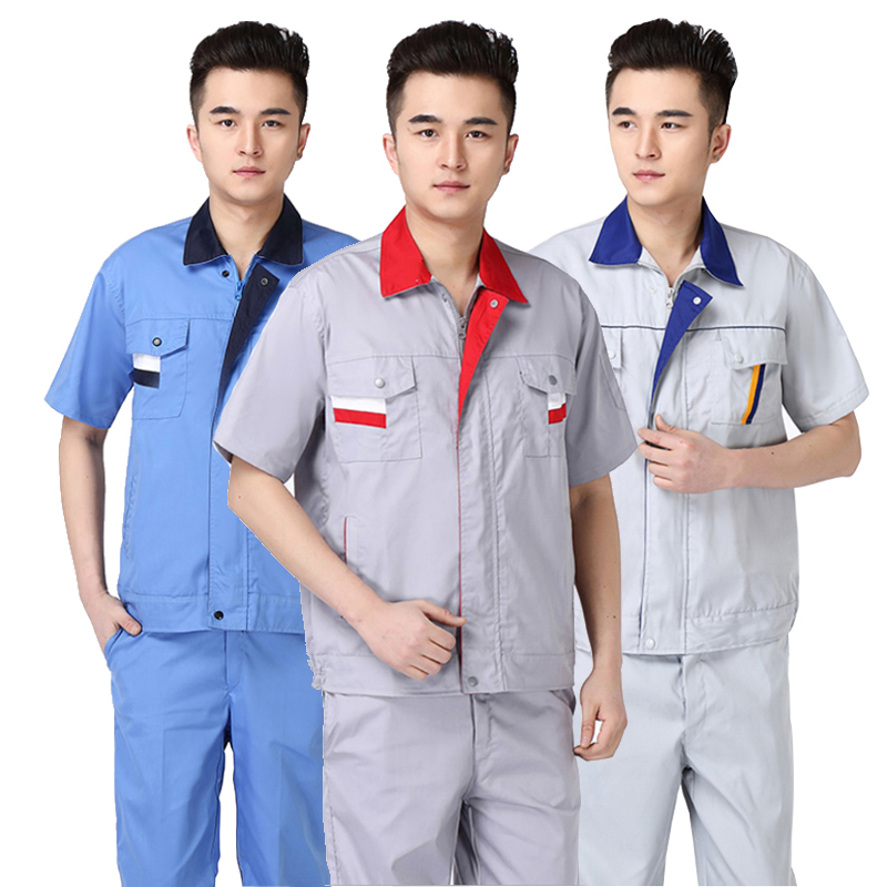 2020 Summer Workshop Uniforms Short Sleeves Contrast Color Thin Breathable Working Coveralls Auto Repair Cleaner Gas Stationer