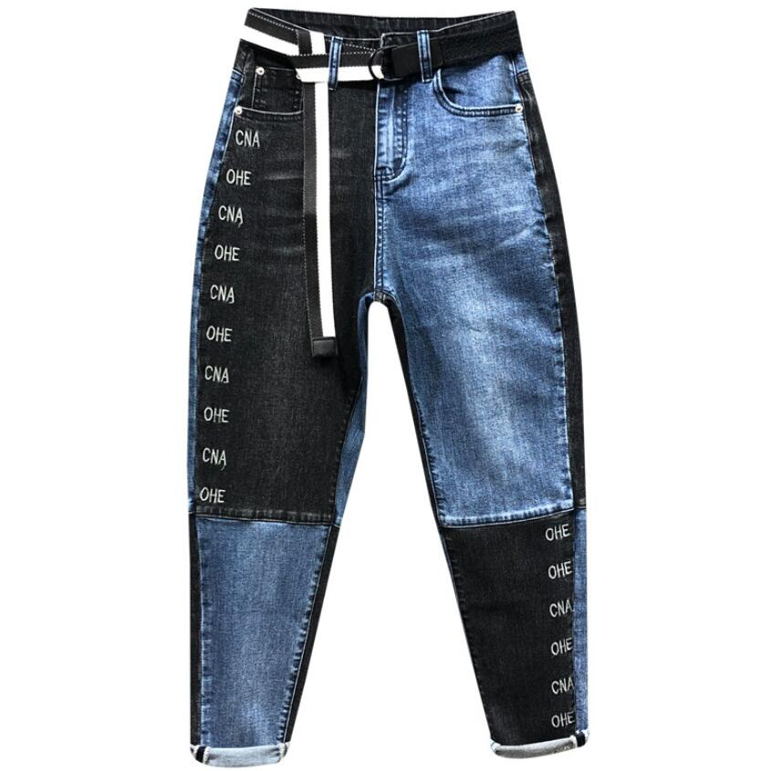 2020 Spring New Contrast Color Stitching Patch Denim Harem Pants Women Stretch Embroidery Feet Jeans