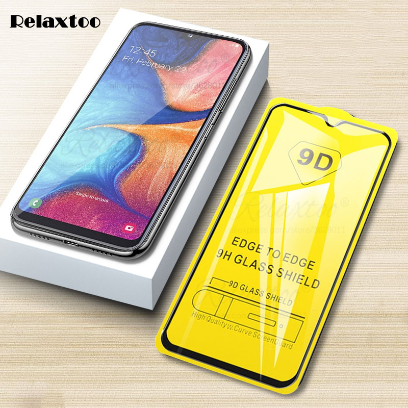 9D Curved Protective Glass Screen Protector On The For Samsung Galaxy A20 A20e A205F A202F Full Glue Tempered Glass A 20 E Film