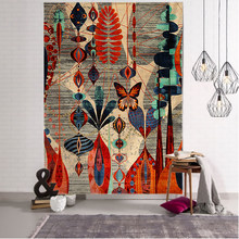 Antique Abstract Flower Illustration Tapestry Wall Hanging Bohemia Art Print Tapestry Room Home Decoration