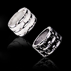 Image 2 - Luxury jewelry 2020 new ring men and women strap ceramic double row black and white couple stainless steel punk gift wholesale