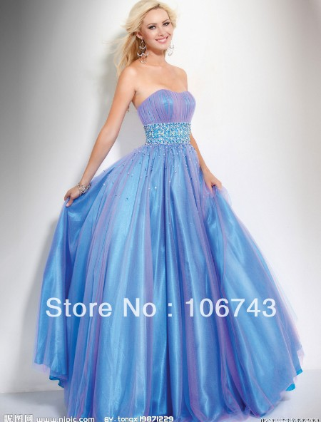 2018 Sweetheart Vestido De Festa Formales Elegant Besded Blue Evening Party  Ball Gown Quinceanera Mother Of The Bride Dresses