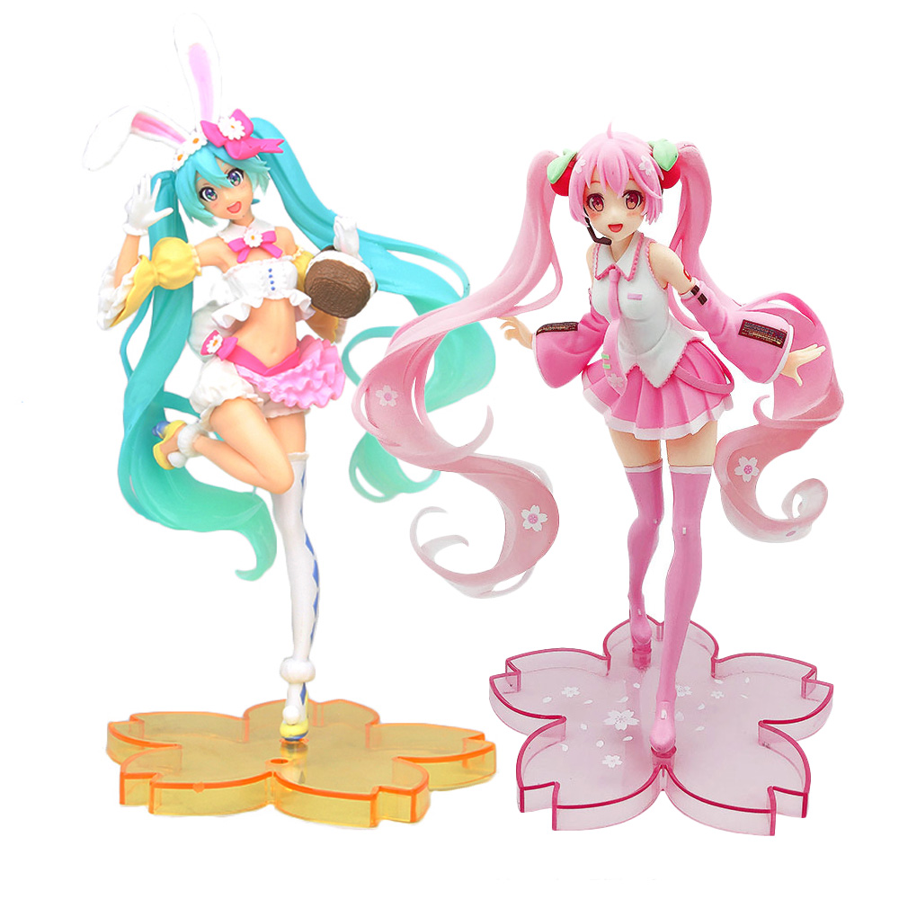 Hatsune Miku Sakura PVC <font><b>Action</b></font> <font><b>Figure</b></font> Anime Vocaloid Bunny Ears <font><b>Sexy</b></font> Figurine Collectible Model Kids Toys Doll for Children Gift image