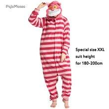 XXL 180-200CM Cheshire Cat Pajama Costume Onesie Adults Women Animal One-Piece Striped Jumpsuits HalloweenParty Raccoon Kigurumi