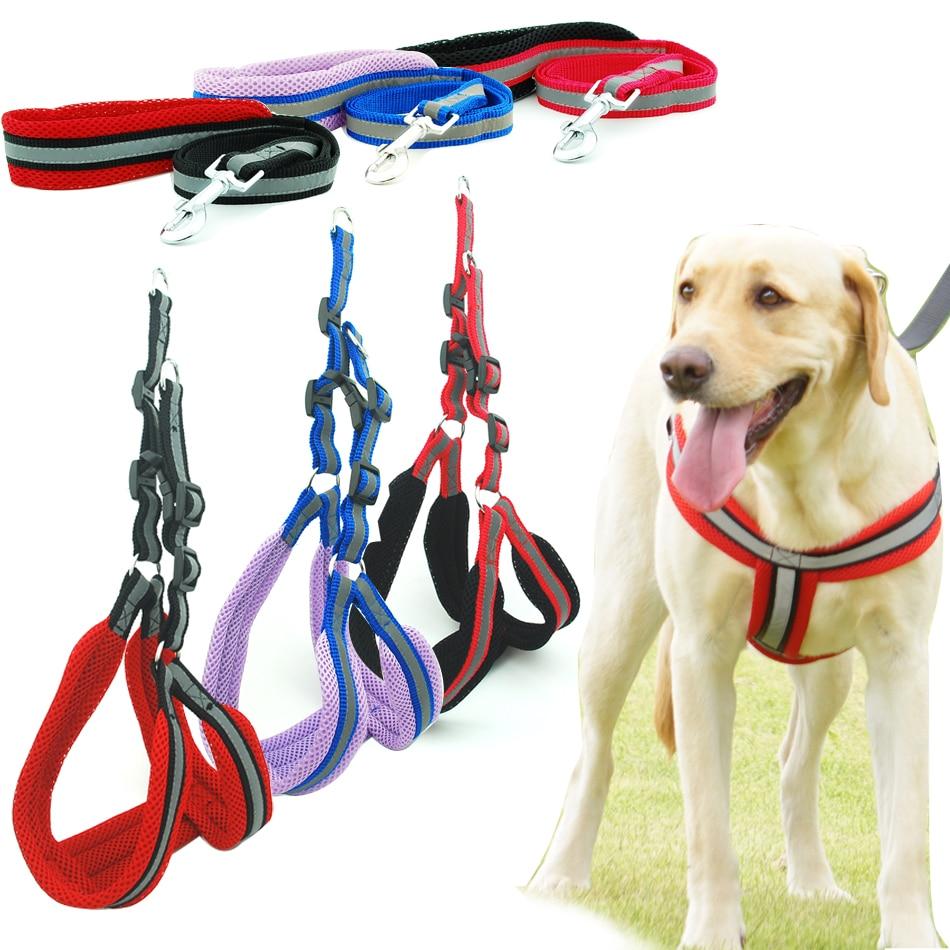 Dog Harness Vest Leash Reflcetive Breathable Mesh Pet Produts Adjustbale Night Walkding Leash Dog Collar for Medium Large Dogs