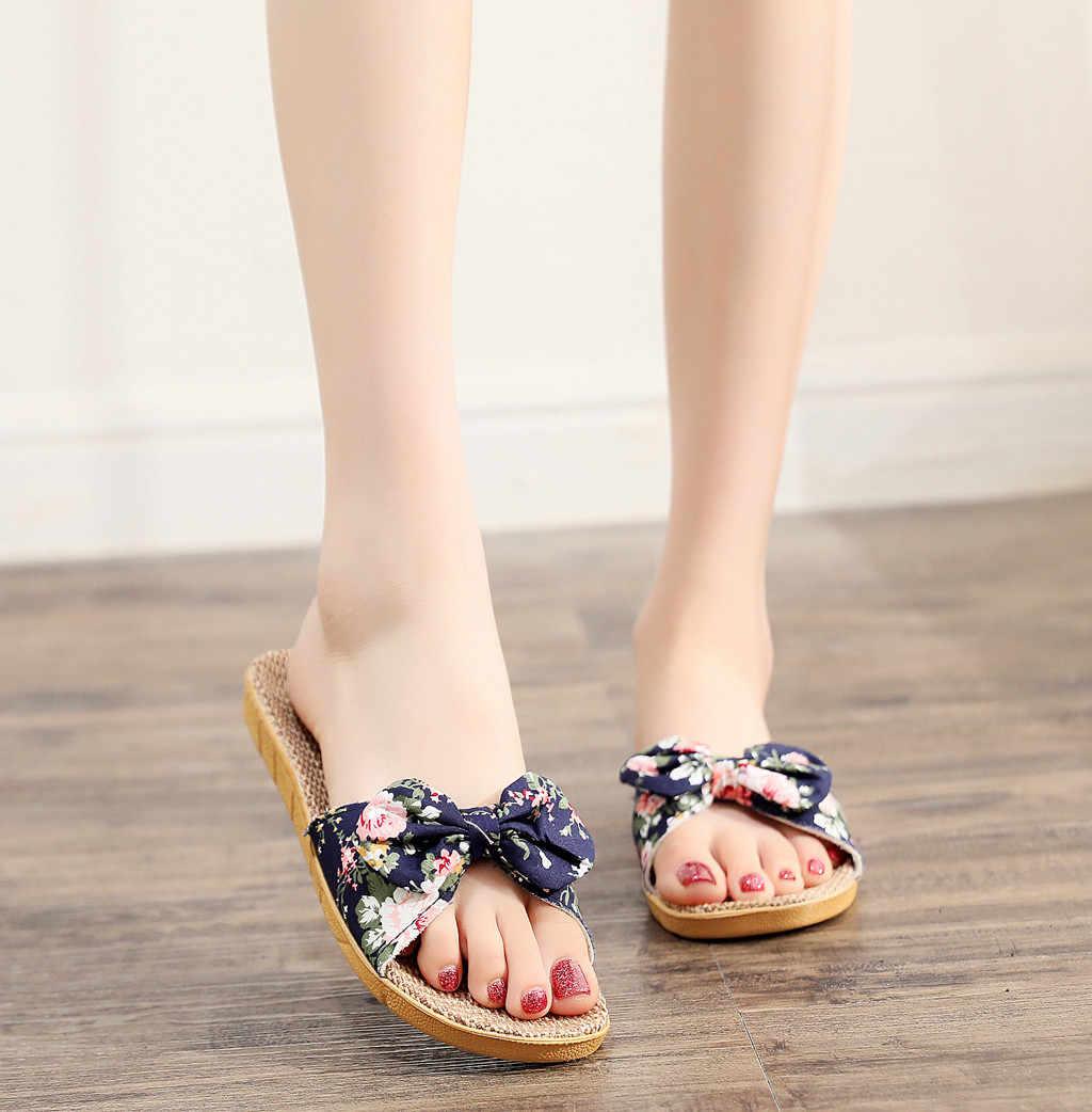 Neue Mode Lässig blume Frauen Weibliche Böhmen Bowknot Flachs Leinen Flip-Flops Strand Schuhe Sandalen Slipper обувь женская # 116GP