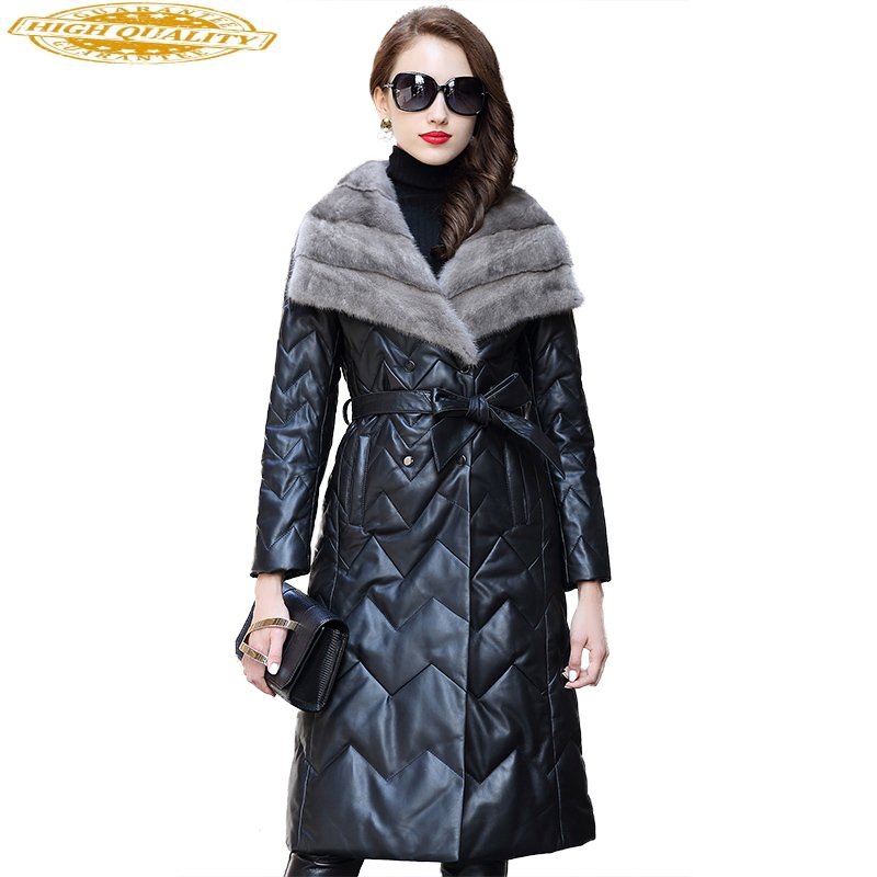 Real Sheepskin Coat Women 2020 Long Winter Genuine Leather Jacket Womens Down Jackets Natural Mink Fur Collar CJX0098B