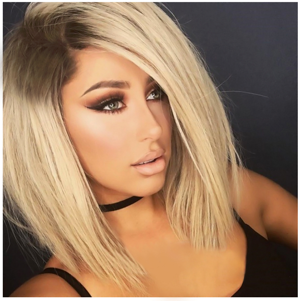 12 Inch Short Bob Black Blonde Ombre Wigs For Women Natural Looking Heat Resistant Synthetic Cosplay Daily Use Hair Wigs