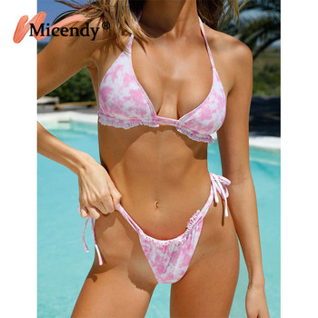Micendy Tie Dye Bikini Sexy Thong Swimsuit Women Brazilian Biquini String Triangle Swimwear Girls Halter Bathing Suits Beachwear thong bikini floral print brazilian bottom sexy swimsuit women 2 pieces halter triangle top side tie string bikinis tanning