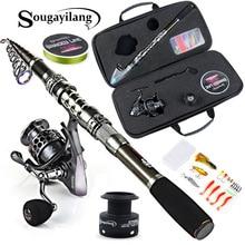 Sougayilang 1.8m-2.4m Telescopic Fishing Rod Reels Combos Fishing Reel Pole Lure Line Bag Sets Kit For Travel Fishing Tackle