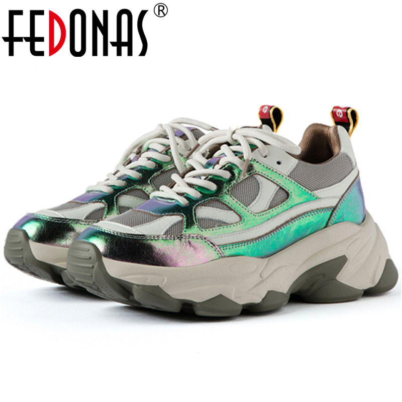 FEDONAS Female Flats Platform Casual Shoes Woman 2020 New Women Shallow Flats Patchwork Comfortable Breathable Women Sneakers