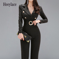 2019 Autumn Winter Elegant Notched Neck work wear Jumpsuits Women Fitted Striped High Waist Wide Leg Long Jumpsuit Dropshipping