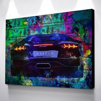 Картина стены искусства плакаты спортивный автомобиль картина с деньгами плакаты и художественная печать на холсте плакат Винтаж