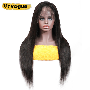 VRVOGUE Straight Glueless Lace Human Hair Wigs Medium Brown Remy Brazilian 360 Lace Frontal Wigs Pre Plucked With Baby Hair