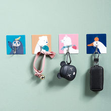 Animais bonitos dos desenhos animados pendurado adesivos de parede pendurar a porta chave pendurado adesivo broca-livre gancho vara a parede e gancho de vidro