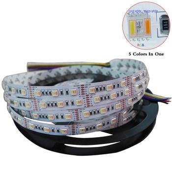 цена на 5M/lot RGBWW LED Strip,5 color in 1 led chip SMD 5050 flexible light RGB+cool White&warm white,60Leds/m IP30/67;DC12V/24V