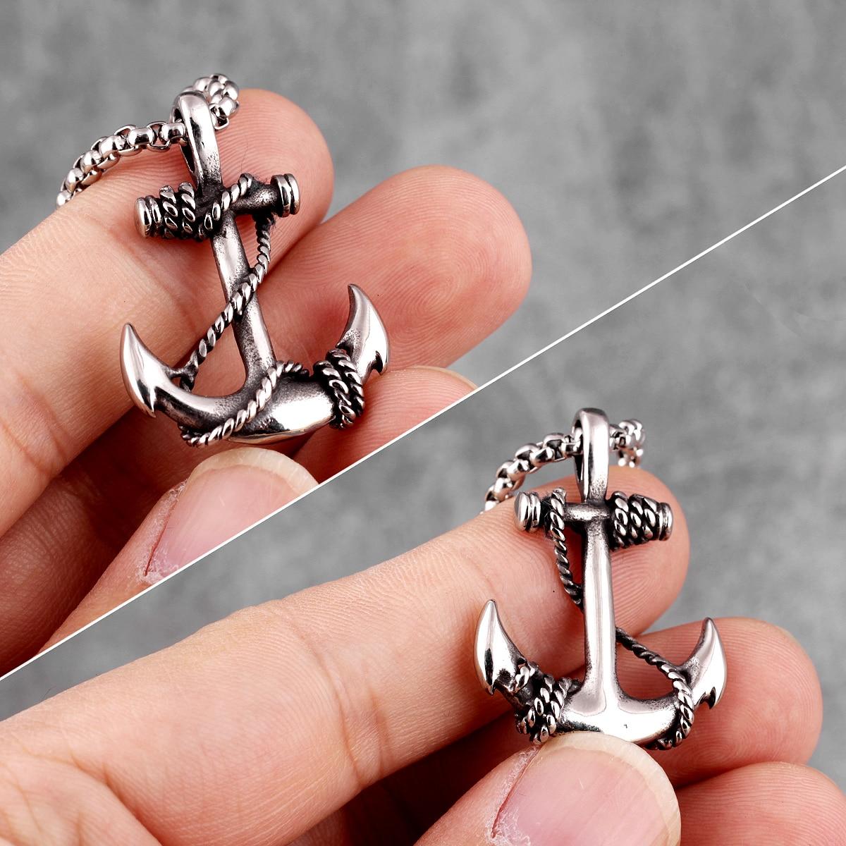 Stainless Steel Sea Anchor Sailor Man Men Necklaces Chain Pendants Punk Rock Hip Hop Unique for Male Boy Fashion Jewelry Gift