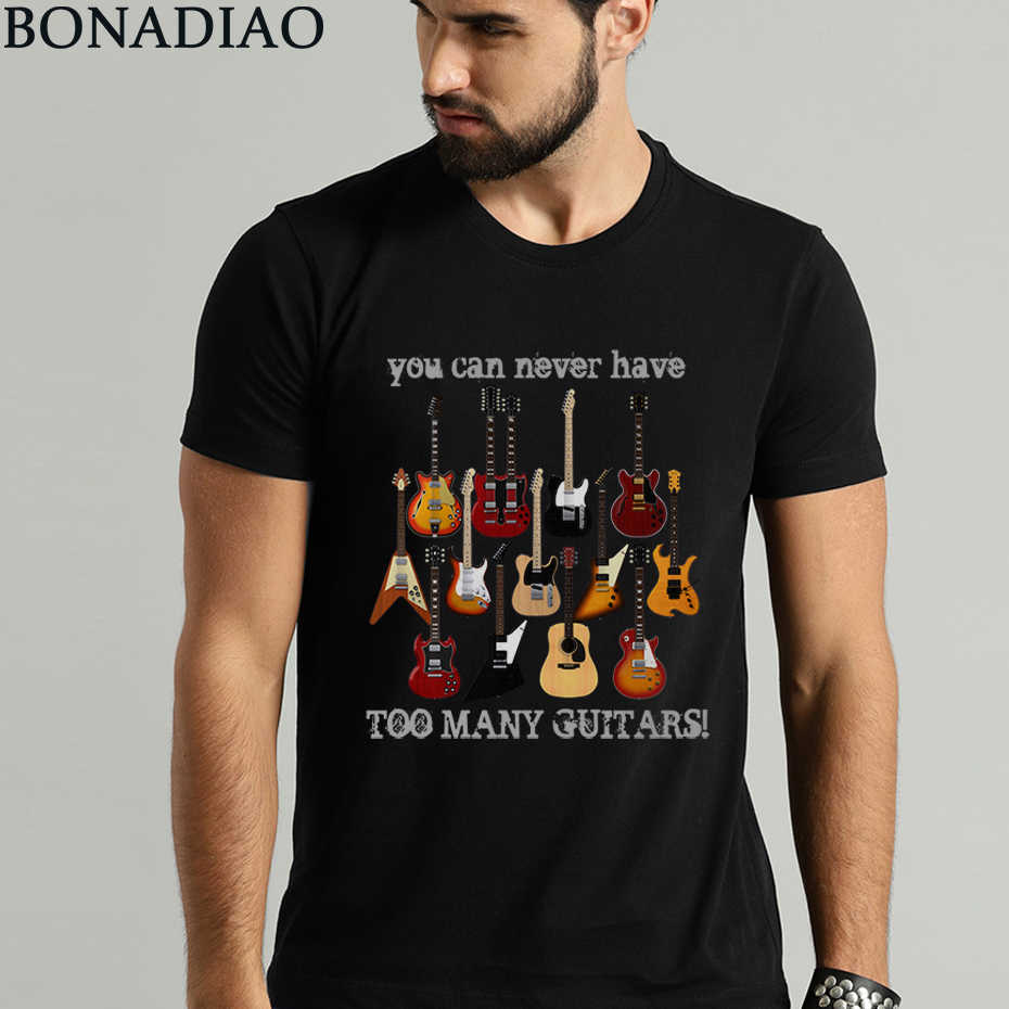 Fashion Electric Guitar Tee Shirt Male Big Size Music Style T Shirt