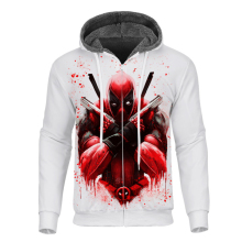 Cloudstyle New Mens Warm Fleece Hoodies with Zipper 3D Printed Anime Deadpool Hoodie Long Sleeves Cool Coat Streetwear