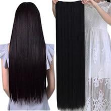 Grampo de shangke em uma extensão sintética do cabelo da parte. 40-Polegada fibra resistente ao calor peruca de cabelo falso por muito tempo. Hairpiece com cinco grampos