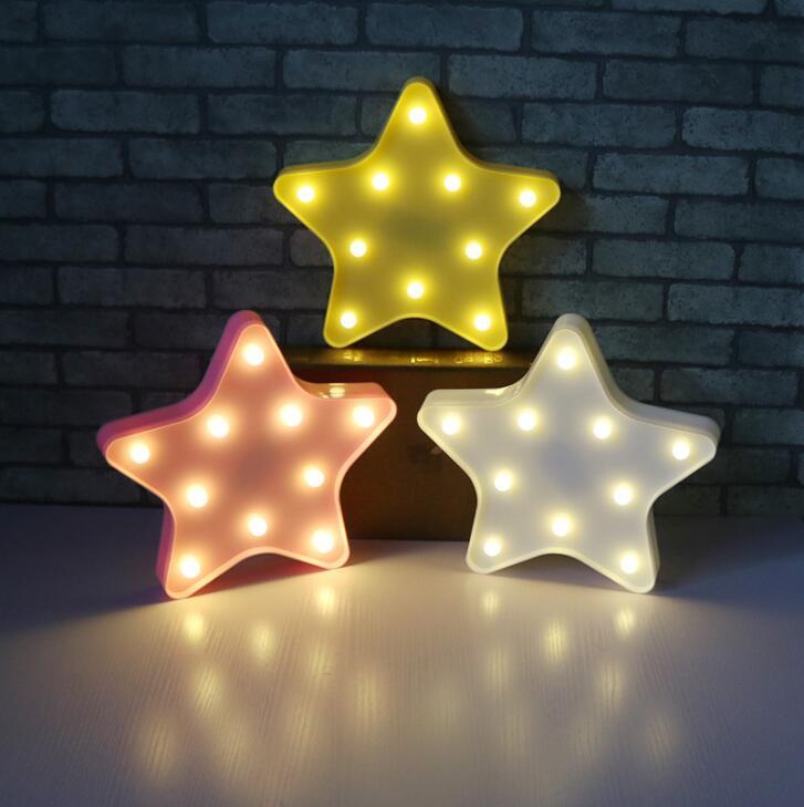 Pentagonal Star Decorative Night Lamp Nordic Wind Wall Hanging Table Lamp Feeding Lamp