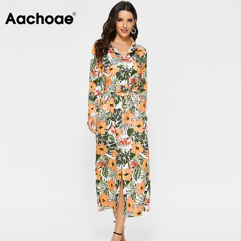 Aachoae Floral Print Casual Long Dresses For Women 2020 Spring Long Sleeve Vintage Dress Turn Down Collar Office Shirt Dress