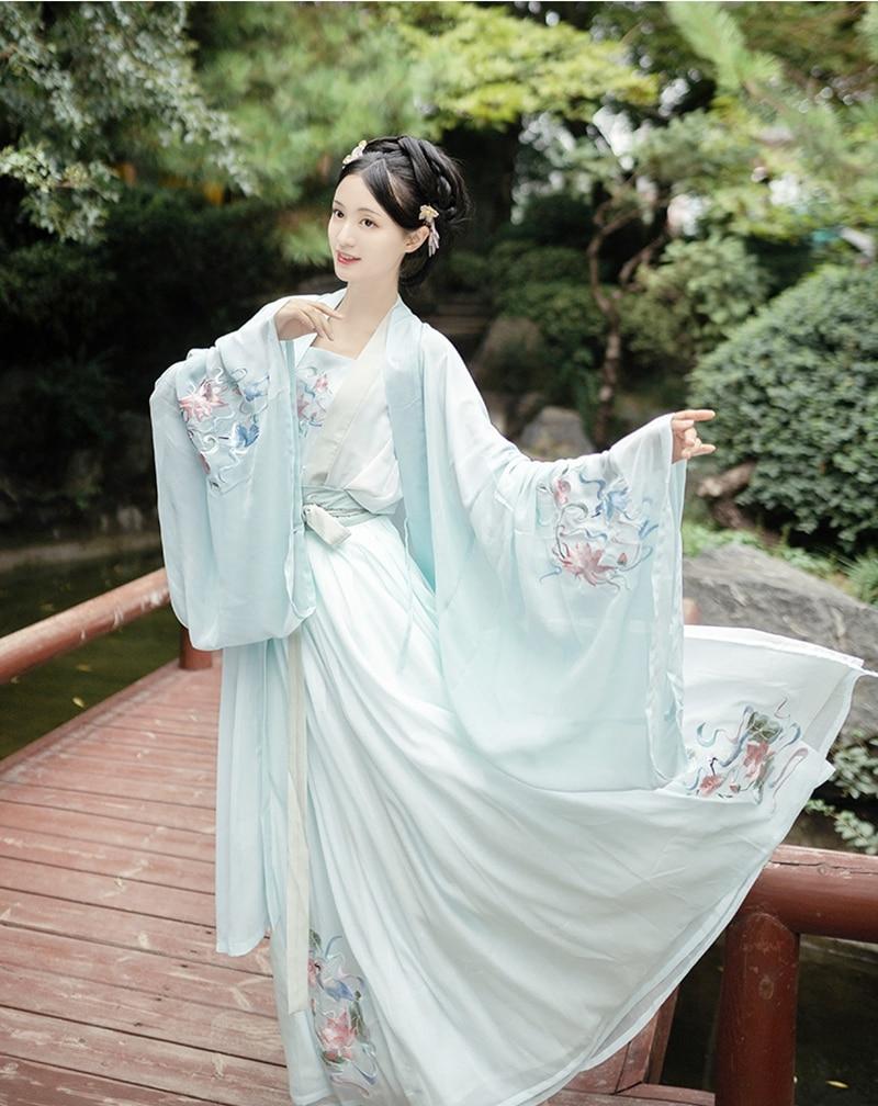 Chinese Folk Dance Hanfu Dress Retro Tang Dynasty Princess Cosplay Stage Wear Asian Traditional Chinese Hanfu Women Fairy Dress