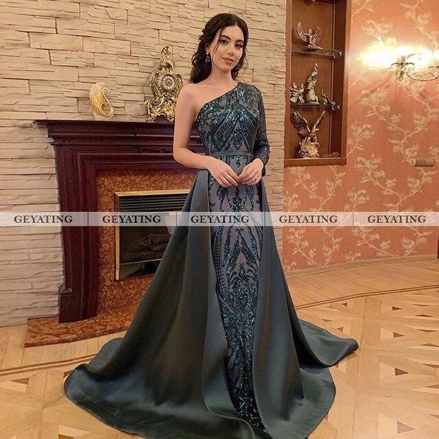 Dubai Emerald Green One Shoulder Evening Dress Detachable Train Long Sleeve Mermaid Arabic Formal Dresses Muslim Long Party Gown