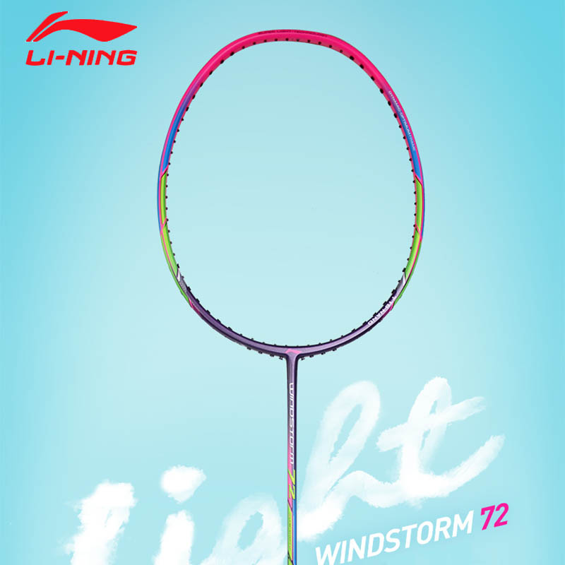 Li-ning windstorm 72 badminton racket single racket professional carbon fiber li ning lining light racket 72g aypm198 zyf346