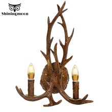 American Vintage Wall Lamps Deer Horn Antler Lampshade Decoration Sconce Bedroom Bedside Wall Light Home Stairs Wall Sconce Lamp
