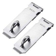 AMS-Vorhängeschloss Haspe Staple 2 Pack Heavy Duty Sicherheit Tür Verschluss Tor Schloss Latch, SUS304 Edelstahl Gebürstet Vorhängeschloss Verschluss
