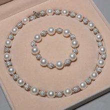 Set di gioielli con perle conchiglia da 12MM bracciale con collana a pera rotonda multicolore femminile