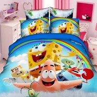 Cute SpongeBob Bedding Set Patrick Star Cartoon Bed Linen Adult Kids Single Twin 2/3/4pcs Size Bedclothes Children Birthday Gift