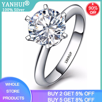 With Certificate 18K RGP Stamp Pure Solid White Gold Ring Solitaire 2.0ct Lab Diamond Wedding Rings For Women Silver 925 Ring yanhui have 18k rgp logo pure solid yellow gold ring luxury round solitaire 8mm 2 0ct lab diamond wedding rings for women zsr169