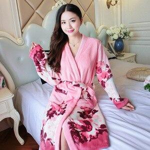 Image 5 - 플란넬 가운 여성 만화 사랑스러운 두꺼운 따뜻한 잠옷 겨울 목욕 가운 여성 잠옷 목욕 가운 잠옷
