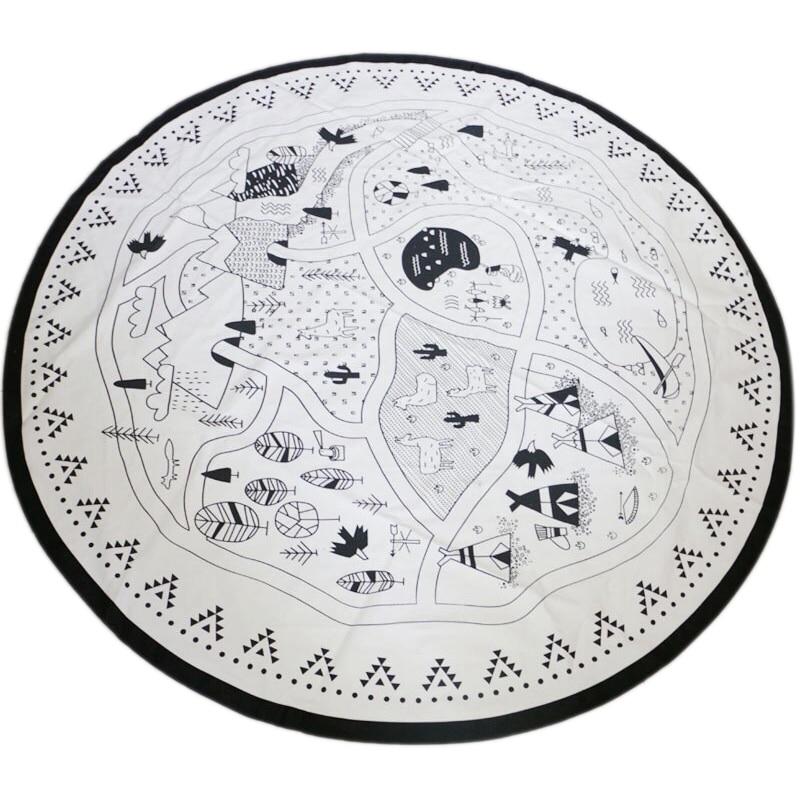 FBIL-Baby Nursing Photo Props Blanket Floor Playmat Animal Round Carpet Children's Crawling Play Mat Mug Diameter 53 Inch Black