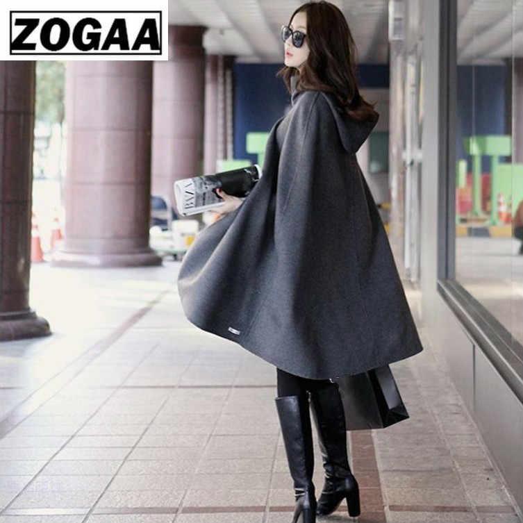Hooded Ponchos และ Capes 2018 ฤดูหนาวเสื้อคลุมยาว Batwing คอเต่า Poncho Coat ไม่สม่ำเสมอเปิด Capas Mujer Elegantes g
